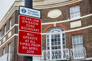 Ultra-low Emission Zone signs installed in London warning drivers of impending charges